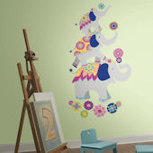 Waverly Pink and Yellow Elephant Giant Decals