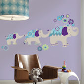 Waverly Teal and Purple Elephant Giant Decals
