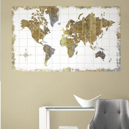 Gold World Map Peel and Stick Wall Mural - Wall Sticker Outlet
