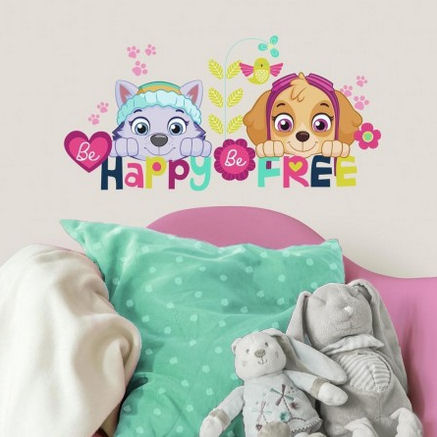 Paw Patrol Skye and Everest Be Happy Wall Decals  - Wall Sticker Outlet