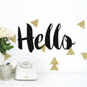 Hello Gllitter Quote Peel and Stick Wall Decals