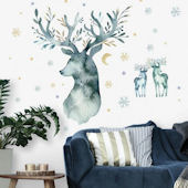 Watercolor Winter Deer Peel and Stick Wall Decals