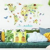 Kids World Map Giant Wall Decals