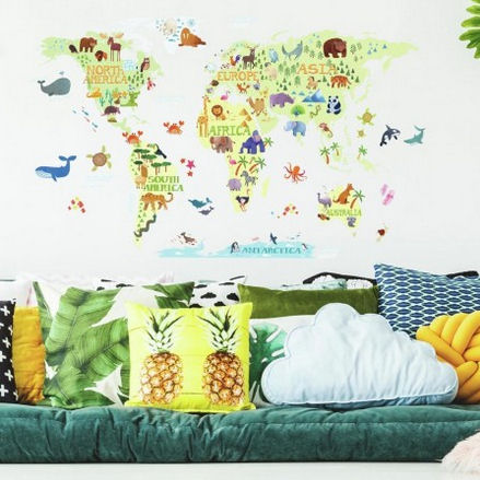 Kids World Map Giant Wall Decals - Wall Sticker Outlet