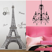 Eiffel Tower and Chandelier with Gems Decal Pack