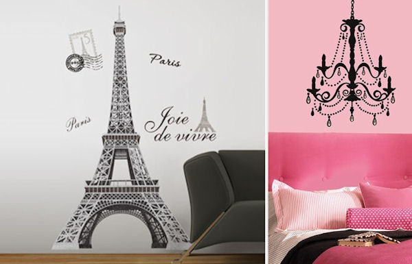 Eiffel Tower and Chandelier with Gems Decal Pack - Wall Sticker Outlet
