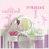 Ballet Wall Decals with Glitter