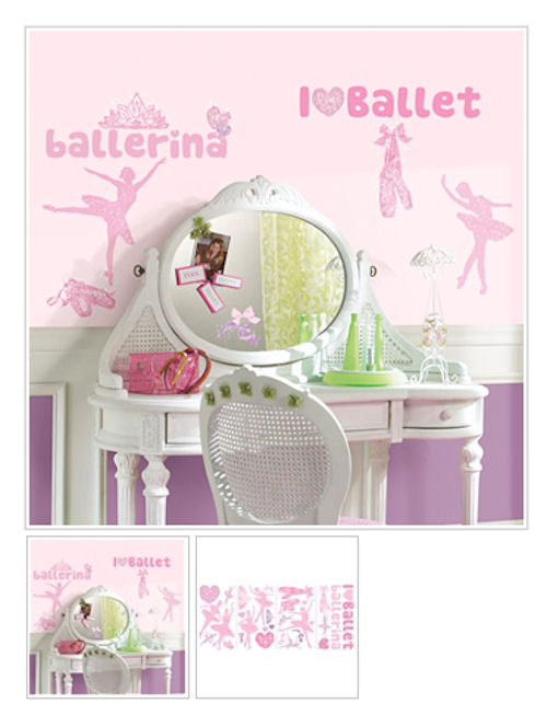 Ballet Wall Decals with Glitter - Wall Sticker Outlet