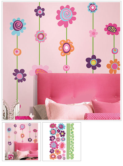 Flower Stripe Giant Wall Decal - Wall Sticker Outlet