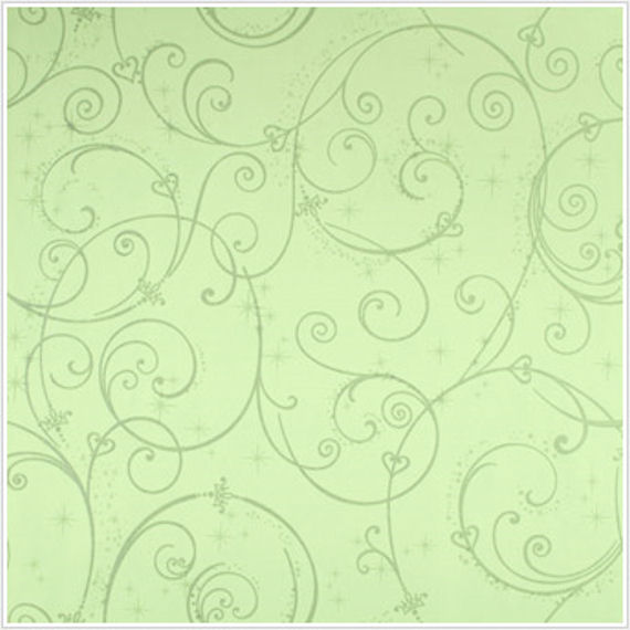 Perfect Princess Green Glitter Scroll Wallpaper - Wall Sticker Outlet
