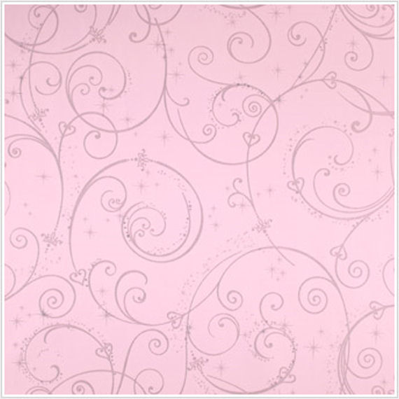 Perfect Princess Pink Glitter Scroll Walpaper - Wall Sticker Outlet
