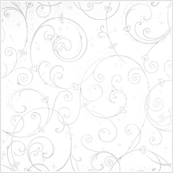 Perfect Princess White Glitter Scroll Wallpaper - Wall Sticker Outlet