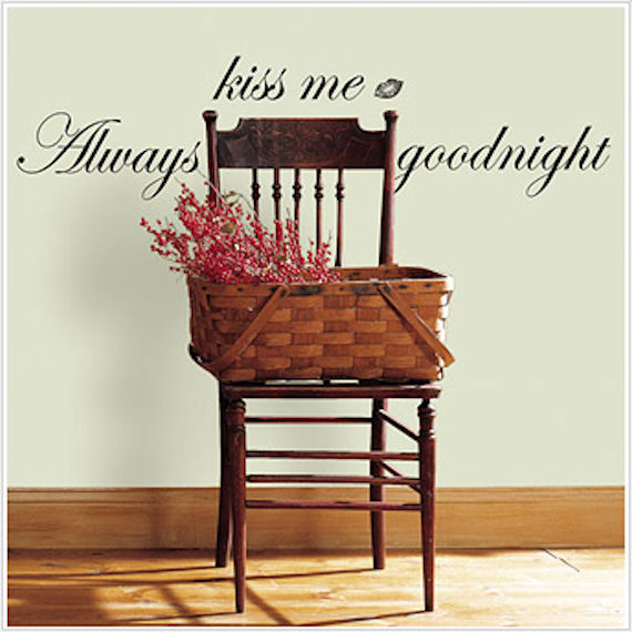 Always Kiss Me Goodnight Peel and Stick Phrase - Wall Sticker Outlet
