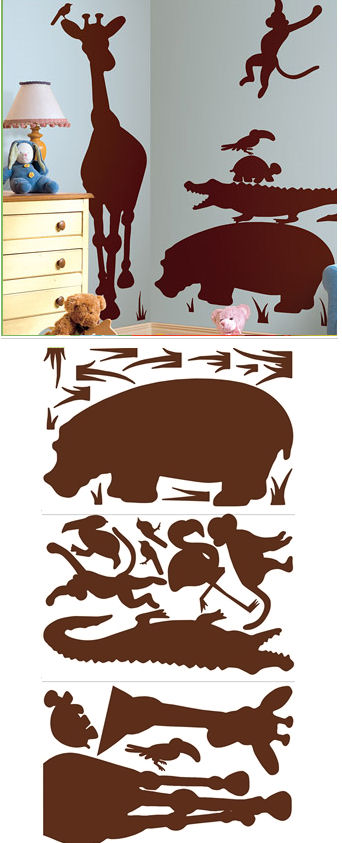 Animal Silhouettes Brown Wall Decals SALE - Wall Sticker Outlet