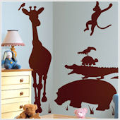 Animal Silhouettes Brown Wall Decals