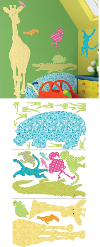 Animal Silhouettes Color Peel and Stick Wall Mural - Kids Wall Decor Store