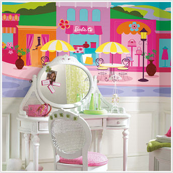 Barbie XL Prepasted Chair Rail Wall Mural - Kids Wall Decor Store