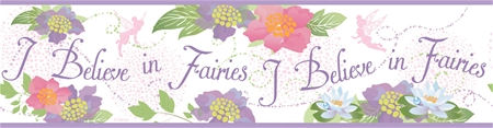 I Believe in Fairies Purple Prepasted Border - Wall Sticker Outlet