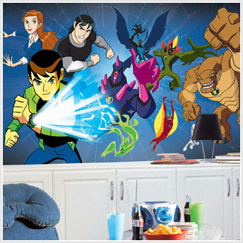 Ben 10 XL Chair Rail Wall Mural 6' x 10' - Kids Wall Decor Store
