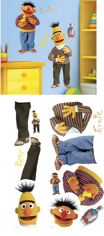 Sesame Street Bert and Ernie Giant Wall Stickers - Wall Sticker Outlet