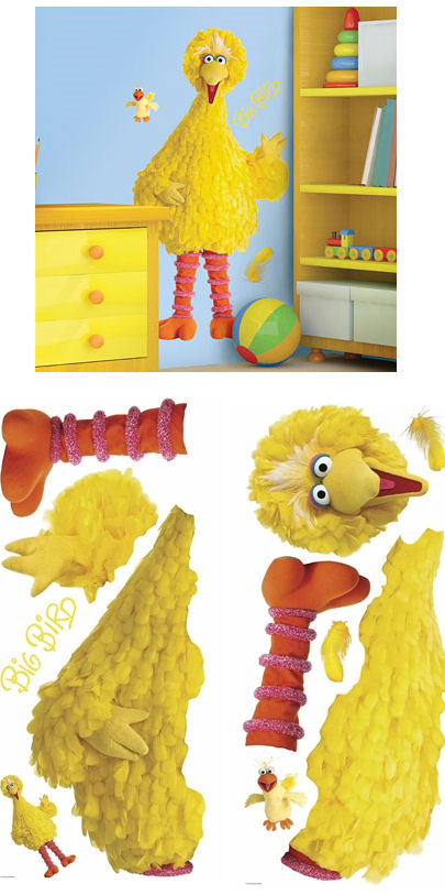 sesame street big bird giant wall sticker. Black Bedroom Furniture Sets. Home Design Ideas