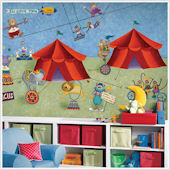 Big Top Circus XL Prepasted Chair Rail Wall Mural