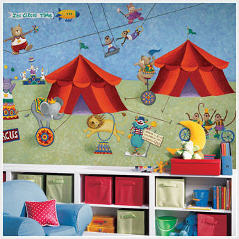 Big Top Circus XL Prepasted Chair Rail Wall Mural - Kids Wall Decor Store