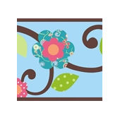 Blue Floral Scroll Peel and Stick Wall Border