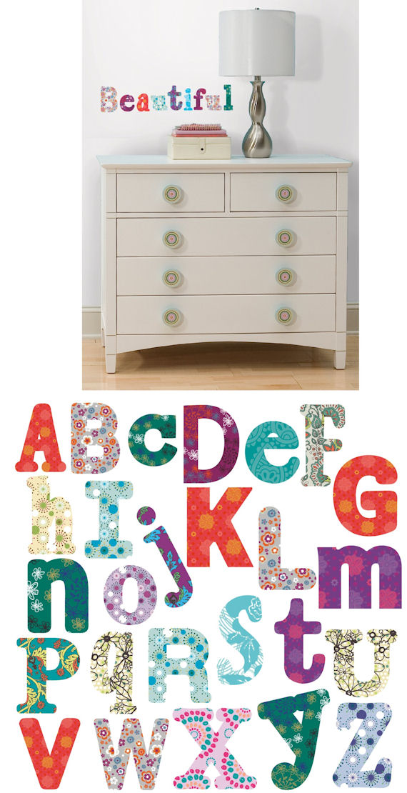 Boho Alphabet Peel and Stick Wall Decal - Kids Wall Decor Store