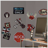 Boys Rock n Roll Peel and Stick Wall Decals