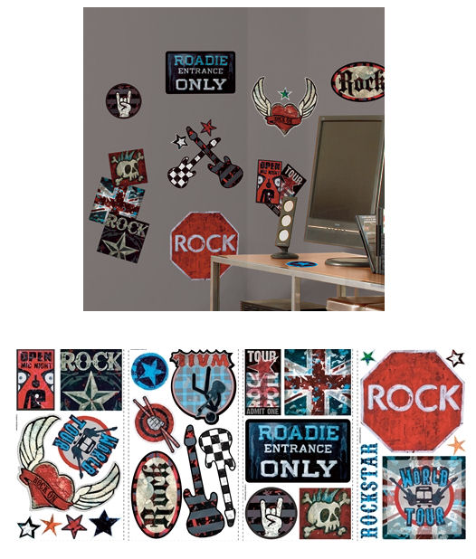 Boys Rock n Roll Peel and Stick Wall Decals - Wall Sticker Outlet