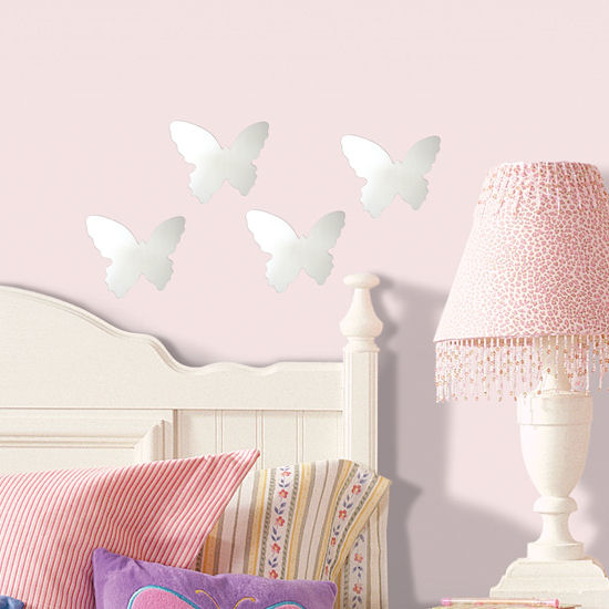 Butterfly Set 4 Peel and Stick Mirrors - Wall Sticker Outlet