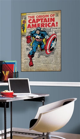 Captain America Comic Book Cover Sticker  - Wall Sticker Outlet