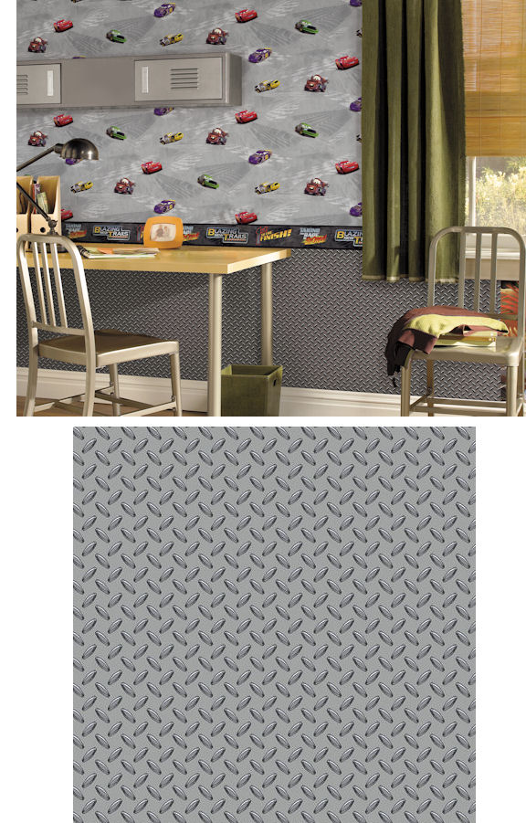 Disney Cars Grey Garage Metal Wallpaper - Wall Sticker Outlet