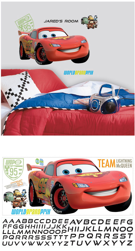 Cars 2 Lightening McQueen Personalized Sticker - Wall Sticker Outlet
