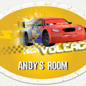 Cars Voltage Oval Custom Name Wall Decal