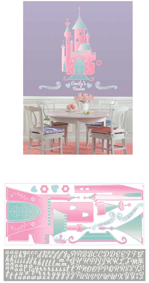 Disney Princess Castle with Personalization Decal - Kids Wall Decor Store