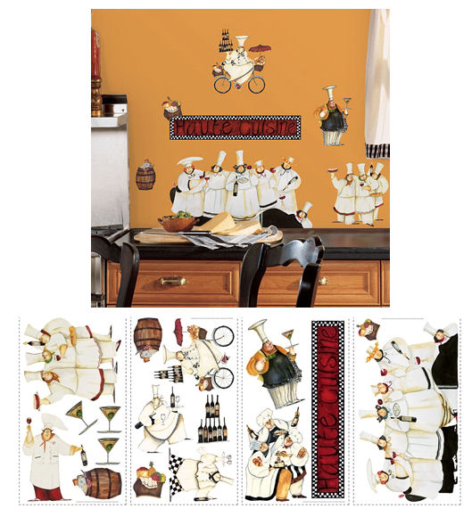 Chefs Peel and Stick Appliques - Wall Sticker Outlet