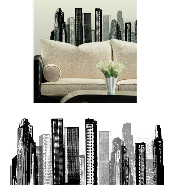 citiscape peel and stick wall decals kids wall decor store. Black Bedroom Furniture Sets. Home Design Ideas