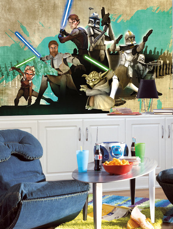 Star Wars Clone Wars XL 6 x 10 Chair Rail Mural - Kids Wall Decor Store
