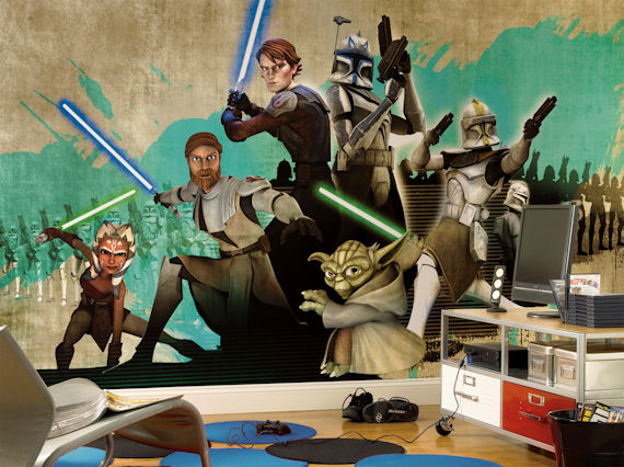 Star Wars Clone Wars XL 9 x 15 Mural - Kids Wall Decor Store