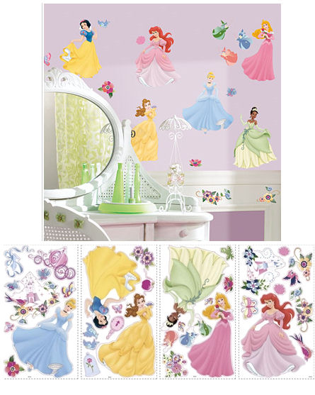 Disney Princess Wall Decor princess jeweled wall stickers - kids wall decor store