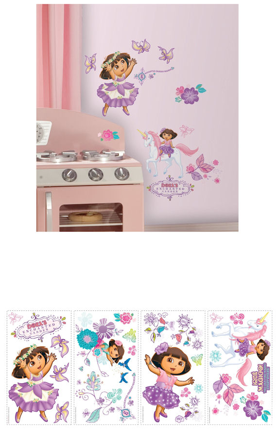 Dora enchanted forest adventures wall decals for Dora the explorer wall mural