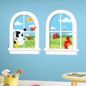 Down On The Farm Window Wall Sticker
