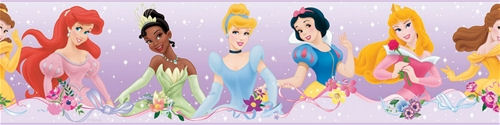 Disney Princess Dream From the Heart Purple Border - Wall Sticker Outlet