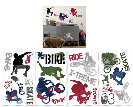 Extreme Sports New Peel and Stick Wall Decal - Kids Wall Decor Store