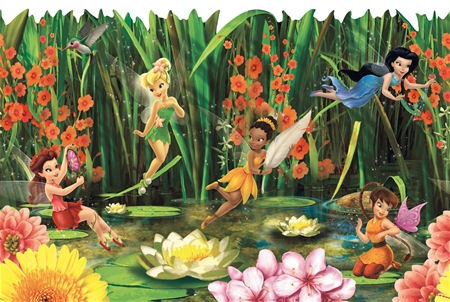 Fairies and Lily Pads Wallpaper Border - Wall Sticker Outlet