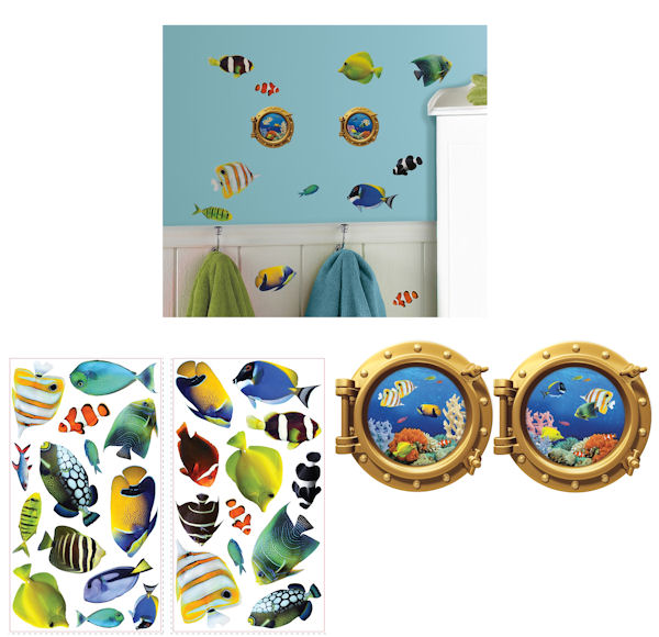 Fish Lenticular Port Hole Peel and Stick Decals - Wall Sticker Outlet