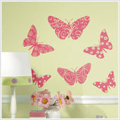 Flocked Butterfly Peel and Stick Wall Stickers