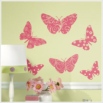 Flocked Butterfly Peel and Stick Wall Stickers - Wall Sticker Outlet